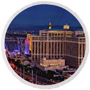 Round Beach Towel featuring the photograph Las Vegas Panoramic Aerial View by Susan Candelario