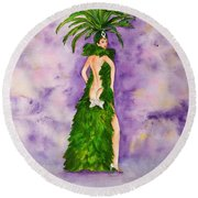 Round Beach Towel featuring the painting Las Vegas Show Girl by Vicki  Housel
