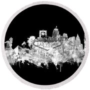 Las Vegas Skyline Black Round Beach Towel