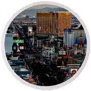 Las Vegas Strip Round Beach Towel