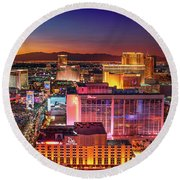Round Beach Towel featuring the photograph Las Vegas Strip North View After Sunset by Aloha Art