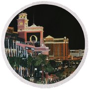 Las Vegas Strip Oil On Canvas Round Beach Towel