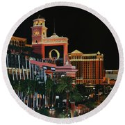 Las Vegas Strip Oil On Canvas Painting Round Beach Towel