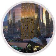 Las Vegas Sunrise Reflection Round Beach Towel