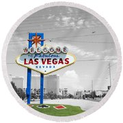 Round Beach Towel featuring the photograph Las Vegas Welcome Sign Color Splash Black And White by Shawn O'Brien