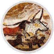 Lascaux Hall Of The Bulls - Horses And Aurochs Round Beach Towel