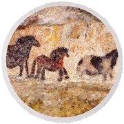 Lascaux Horses Round Beach Towel