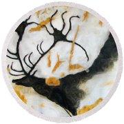 Lascaux Megaceros Deer 2 Round Beach Towel