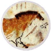 Lascaux Prehistoric Horse Detail Round Beach Towel