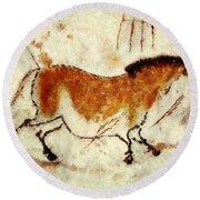 Lascaux Prehistoric Horse Round Beach Towel