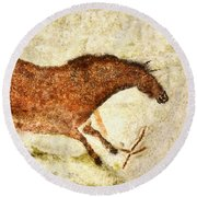 Lascaux Red Horse Round Beach Towel
