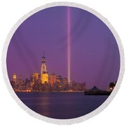 Laser Twin Towers In New York City Round Beach Towel