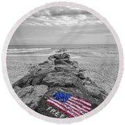 Lashley Beach Freedom Round Beach Towel