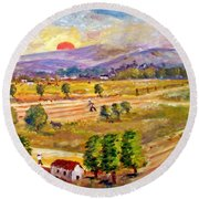 Lasithi Valley In Greece Round Beach Towel