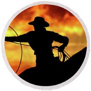 Lasso Sunset Cowboy Round Beach Towel