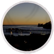 Round Beach Towel featuring the photograph Last 2015 Sunset by Lora Lee Chapman