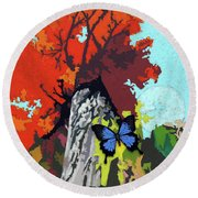 Last Butterfly Before Winter Round Beach Towel