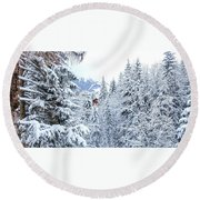 Round Beach Towel featuring the photograph Last Cabin Standing- by JD Mims