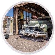 Last Chance Gas - Old Desert Garage Round Beach Towel