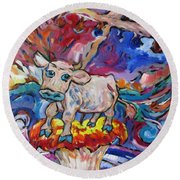 Round Beach Towel featuring the painting Last Cow Standing by Dianne  Connolly