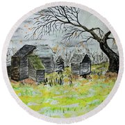Round Beach Towel featuring the painting Last Leaf Fall by Jack G Brauer