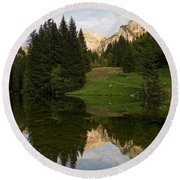 Last Light At Lac De Fontaine Round Beach Towel