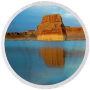 Round Beach Towel featuring the photograph Last Light At Lone Rock by Mike Dawson