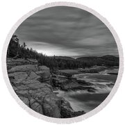 Last Light At Otter Cliff Round Beach Towel
