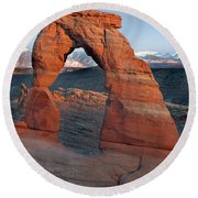 Last Light On Delicate Arch  Round Beach Towel
