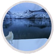 Last Light On Frozen Cascade Lake Round Beach Towel