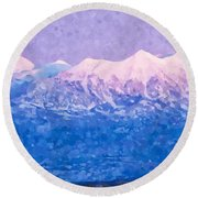Last Light On Mount Peale From Buck Canyon Overlook Round Beach Towel