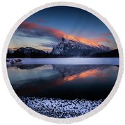 Last Light On Mount Rundle Round Beach Towel