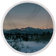 Last Light On Pagosa Peak Round Beach Towel