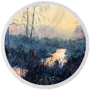 Last Light On Skipwith Marshes Round Beach Towel