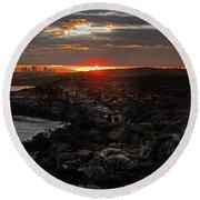 Round Beach Towel featuring the photograph Last Light Over North Head Sydney by Miroslava Jurcik