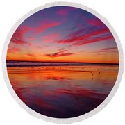 Last Light Topsail Beach Round Beach Towel by Betsy Knapp