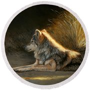 Last Light - Wolf Round Beach Towel