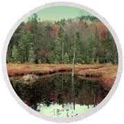 Round Beach Towel featuring the photograph Last Of Autumn On Fly Pond by David Patterson