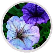 Last Of The Petunias   Round Beach Towel by MaryLee Parker