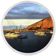 Round Beach Towel featuring the photograph Last Rays At The Bay by Nareeta Martin