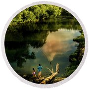 Round Beach Towel featuring the photograph Last Seconds Of Summer by Robert Frederick