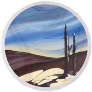 Round Beach Towel featuring the painting Last Snow by Pat Purdy