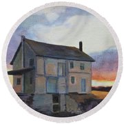 Round Beach Towel featuring the painting Last Stand by Andrew Danielsen