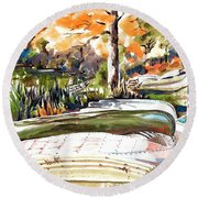 Round Beach Towel featuring the painting Last Summer In Brigadoon by Kip DeVore