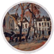 Last Sunbeams Our Lady Square Maastricht Round Beach Towel