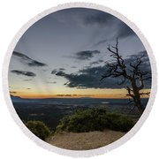 Round Beach Towel featuring the photograph Last Tree Standing by Margaret Pitcher