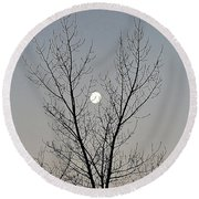 Last Winter Moon Round Beach Towel