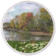 Lasting Autumn Flowers Round Beach Towel by Mary Timman