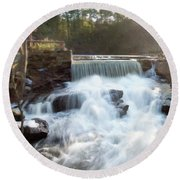 Round Beach Towel featuring the photograph Late Afternoon At The Duck Pond by Sue Collura