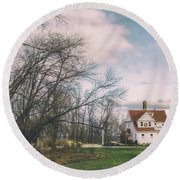 Late Afternoon At The Lighthouse Round Beach Towel by Scott Norris
